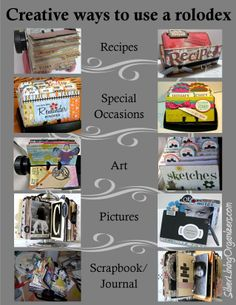 Creative ways to use a rolodex. Scrapbook Journal, Scrapbook Pages, Scrapbooking, Altered Books, Altered Art, Rolodex, Life Organization, Organizing, Index Cards
