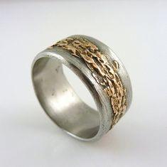 Weathered Steel and Bronze Ring Mixed Metal от AlamedaHardwear