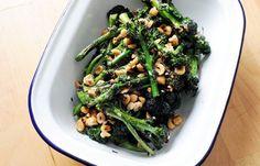 Purple sprouting broccoli with hazelnuts #vegan