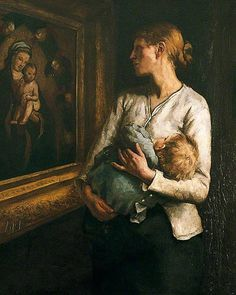 Reginald Bottomley (1856–1933) A Mother and Child Looking at the Virgin and Child