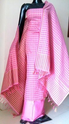 This stunning handloom cotton silk suit piece in jamdani brocade work has been intricately hand woven in the city of beautiful weaves- Benares. The kurta and dupatta have heavy work on them, and the bottom is plain pink .Price Rs 2300.Buy from http://giftpiper.com/Jamdani-Brocade-Cotton-Silk-Salwar-Suit-Pink-id-914104.html. Also see our salwar suit piece collection at http://giftpiper.com/Salwar-Suits-catid-36680-page-1.html