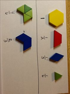 Get students using manipulatives, such as pattern blocks to demonstrate their understanding of fractions. Equivalent Fractions with Pattern Blocks Teaching Fractions, Math Fractions, Teaching Math, Simplifying Fractions, Teaching Ideas, Dividing Fractions, Math Strategies, Math Resources, Math Activities