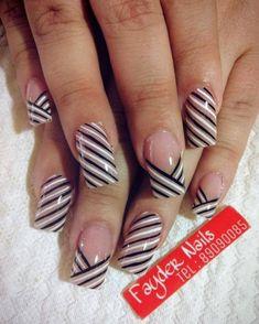 french nails with rhinestones Classy French Nails, Jolie Nail Art, Aqua Nails, Striped Nails, Diy Nail Designs, Hot Nails, Beautiful Nail Art, Nails Inspiration, Beauty Nails