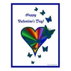 Rainbow Heart and Butterfly Postcard - heart gifts love hearts special diy