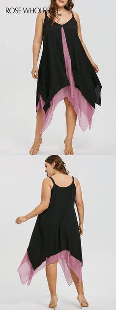 $12.9,Plus Size Handkerchief Hem Flyaway Dress - 5xl