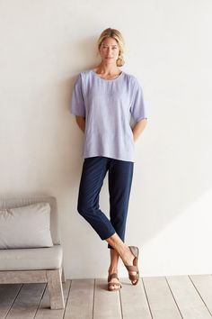 Make it a casual Monday (featuring J.Jill's Pure Jill Pintucked Seamed Top)