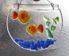 Fused Glass Mini Fish Bowl Suncatcher by CotterpinCrafts on Etsy