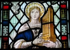 Dear Saint Cecilia, one thing we know for certain about you is that you became a heroic martyr in fidelity to your divine Bridegroom. We do not know that you were a musician but we are told that yo… Santa Cecilia, Patron Saint Of Music, Happy Feast Day, Heaven Music, Sainte Cecile, Music Painting, Patron Saints, Life Design, Stained Glass Windows