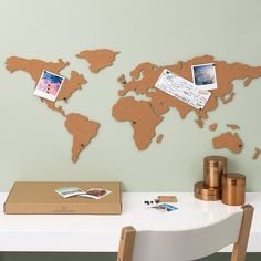 Corkboard World Map, adhesive cork map of the world you can pin your travel photos, tickets, plan a trip of a lifetime Cork Board Map, Cork Map, Quirky Gifts, Unusual Gifts, Map Pictures, Map Wall Decor, Picture Boards, Red Candy, Travel Maps