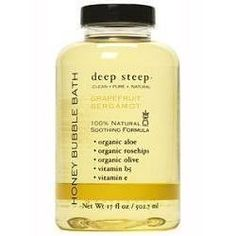Deep Steep Grapefruit Bergamot Bubble Bath 17 oz foam bath by Deep Steep. $9.95. Country of origin: USA. 17 oz foam bath. Please read all label information on delivery.. grapefruit. A deep steep bath is like stepping into a little oasis, a wonderful opposite to the day's overload: The Bath as an escape from the frantic pace of daily life; The Bath as a comforting ritual in an otherwise chaotic universe; The Bath as a feast for the senses. Deep Steep Bubble Baths c...