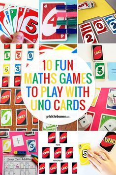Ten fun maths games you can play with Uno cards kidsactivities math learningisfun 435160382740195920 Easy Math Games, Math Card Games, Fun Games, Dice Games, Games Related To Maths, Counting Games, Uno Cards, Simple Math, Homeschool Math