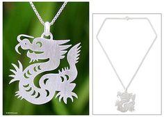 Sterling Silver Pendant Necklace - Chinese Zodiac Dragon | NOVICA