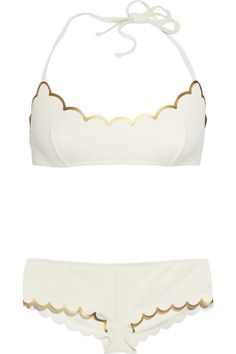 Ivory & Gold scalloped bikini by Chloé
