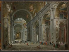 Interior of Saint Peter's, Rome  Giovanni Paolo Panini  (Italian,  1691–1765 Rome)  St Peter's was an obligatory stop for pilgrims and tourists to Rome. Panini made numerous versions of this view updating them in accordance with alterations to the basilica. The earliest version is a large canvas in the Louvre, Paris, painted in 1730 for the French Ambassador, Cardinal Melchior de Polignac.