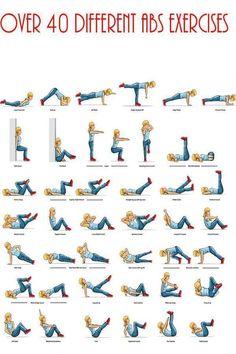 40 ejercicios para hacer abdominales. #MetaParaAbdomen