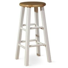 International Concepts 1S02-424 24-Inch Rountop Barstool, White/Natural by International Concepts. $43.00. Square legs. No assembly required. Your home is a natural extension of you. Add these innovative designs from International Concepts to spruce up any decor.. Save 10% Off!
