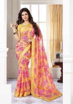 Amezing Ayesha Takia Yellow Pink Crape Saree with Crape Blouse