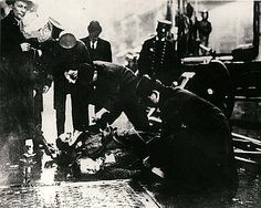 The Triangle Shirtwaist Factory Fire, Mar. 25, 1911 caused the deaths of 146 garment workers who died from the fire, smoke inhalation, or falling to their deaths. Most of the victims were recent Jewish and Italian immigrant women aged 16 to 23. The oldest was 48, the youngest were two 14 year-old girls. Because managers had locked the doors to the stairwells and exits – a common practice at the time, many who could not escape the the burning building jumped from the 8th, 9th, and 10th floors.