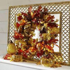 Fall- Faux Maple Leaves Pre-Lit Wreath