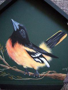 Passarinho dourado - pintura de Mary Paiva (andy) - Revista The Majesty of Nature - Mabel Blanco.