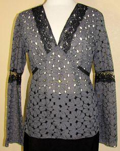 INC INTERNATIONAL CONCEPTS gray cotton blend long sleeve blouse 12 (T1601B7G) #INCInternationalConcepts #Blouse #EveningOccasion