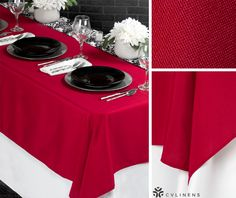 Red, white, and black Damask tablescape. Perfect for a wedding or home setting!