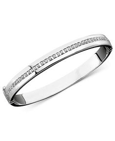 Sterling Silver Diamond Accent Bold Bangle