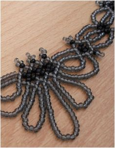 """""""Classic"""" necklace.  Simple beadwork with drama added with long loops.  #Seed #Beads #Tutorials"""
