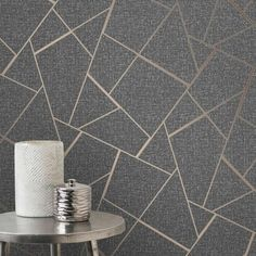 Add a stylish finishing touch to your home with Charcoal Grey and Copper Metallic Quartz Fractal Wallpaper, an abstract geometric pattern for feature walls. Gold Geometric Wallpaper, Bronze Wallpaper, Charcoal Wallpaper, Glitter Wallpaper, Vinyl Wallpaper, Textured Wallpaper, Wallpaper Roll, Bedroom Wallpaper, Wallpaper Designs