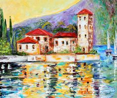Oil Original Lake Como ITALY Boats palette knife on canvas modern fine art impressionism fine art by Karen Tarlton Lake Como Italy, Modern Impressionism, Palette Knife Painting, Building Art, Visual Effects, Painting Techniques, Art Gallery, Fine Art, Abstract