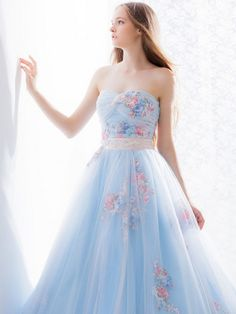 Hardy Amies London Light Blue Pastel Floral Wedding Dress / http://www.deerpearlflowers.com/floral-wedding-dresses/
