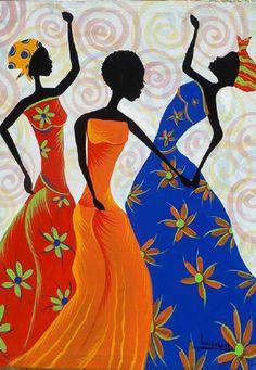 Colorful Haitian Women Dancing Hand Painted Canvas Painting - Original Art of Haiti - x - Black Women Art, Black Art, Hand Painted Canvas, Canvas Art, Wal Art, Afrique Art, African Art Paintings, Haitian Art, Caribbean Art