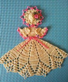 Crochet pattern for a miniature spring-themed crinoline girl Add to Wishlist Crochet Butterfly Pattern, Crochet Bookmark Pattern, Crochet Shrug Pattern, Dishcloth Knitting Patterns, Crochet Flower Tutorial, Crochet Bookmarks, Granny Square Crochet Pattern, Crochet Flower Patterns, Crochet Art