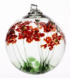 Kitras Hand Blown Art Glass Greetings Blossom Witch Ball