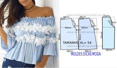 O desenho da blusa da moda 2017 não tem valor de costura tem que ser acrescentado. Apenas os moldes que são para imprimir têm valor de costura...