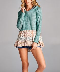 Look what I found on #zulily! Teal Floral Lace-Accent Hoodie #zulilyfinds