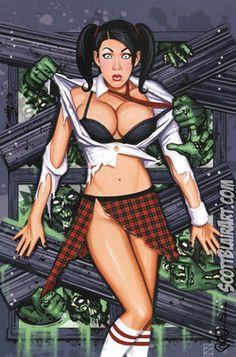Zombies Attack Schoolgirl Shelly Martinez Pin Up Print Scott Blair | eBay
