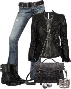 """Rocker Chic"" by johnna-cameron on Polyvore love look but prefer heels"