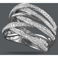 Effy Collection Diamond Ring, 14k White Gold Diamond Multi-Row Ring... ❤ liked on Polyvore