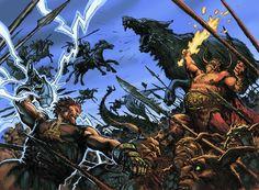 Ragnarok (oldnordisk: Ragnarökr) er i germansk og nordisk religion betegnelsen for en række begivenheder, som fører til verdens undergang. Ordet betyder Gudernes skæbne og betyder, at de magtfulde guder vil dø under det sidste og afgørende slag med deres fjender. (Tegnet af Christian Højgaard)