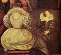 Detail of thought to be of Tomasin de Paris, or Thomasina, Queen Elizabeth I's female dwarf at court, from a portrait of Queen Elizabeth I dancing.