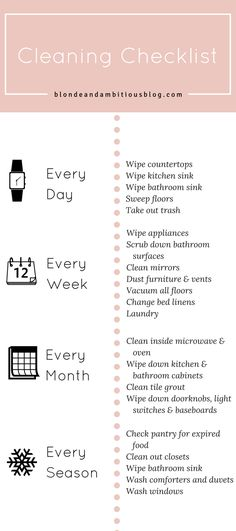 Cleaning Routine Checklist - Blonde & Ambitious Blog