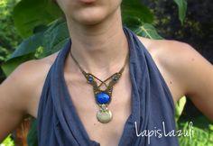 Beautiful lapis lazuli macrame necklace, Macrame lapislazuli necklace, Bohemian elegant necklace, gemstone blue beads, Shiva symbols bronze.