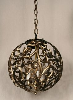 Cast Orb Pendant With Organic Design, c. 1960. #Vintage #Lighting www.myrlg.com