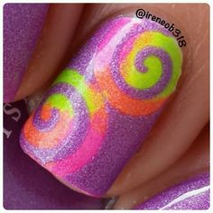 close up shot of today's mani  @mentalitynailpolish Bolt, Startle, Frenzy, & Scandal and swirly vinyl from @vinyl_boutique