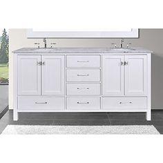 Web Image Gallery Shop for Malibu inch Carrara Marble Top Pure White Double Sink Bathroom Vanity