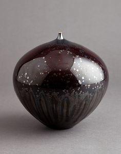 """Hideaki Miyamura, Vase, iron crystalline glaze, porcelain, 6.5 x 6.5 x 6.5"""""""