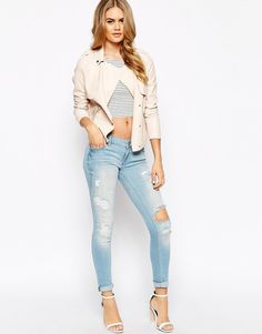 Image 4 of River Island Cara Low Rise Ripped Jeans