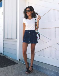 18bc8b5982 5 Fashion Pieces That Will Instantly Make You Look Taller. Denim Skirt  OutfitsDenim Mini SkirtButton ...