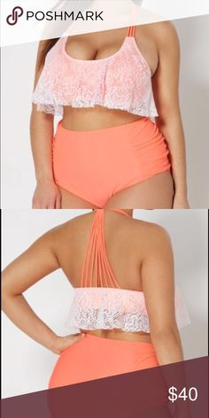 "☀️Super Cute Plus Size Two Piece Bathing Suit☀️ Worn twice and washed, gently used. Very cute retro fit and covers well. Sized as a 3x but fits more like a 2x. I am a 42DDD and the top fits around, cups run about to a DD (I didn't mind the extra ""spillage""). Color is a bright orange with white crochet like overhang. Rue 21 Swim"